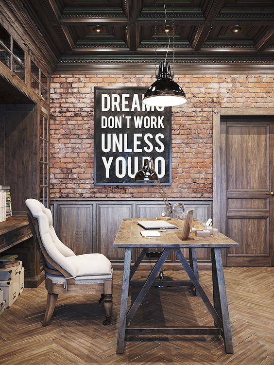 rough red brick is perfect for an industrial home office itu0027s in harmony with woods pictures o