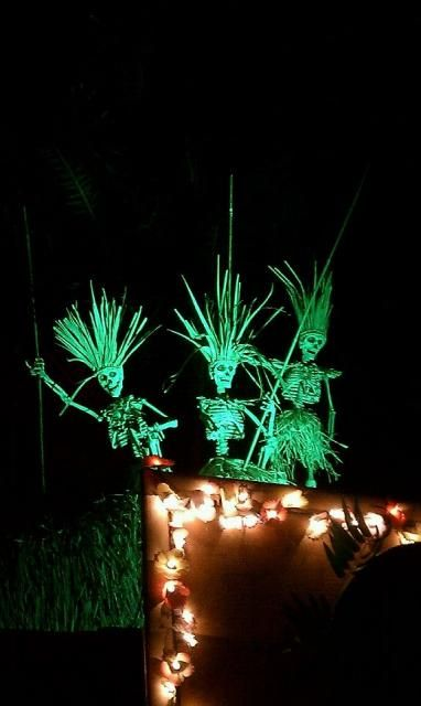 tropical-inspired skeleton scene for outdoors, just add some lights