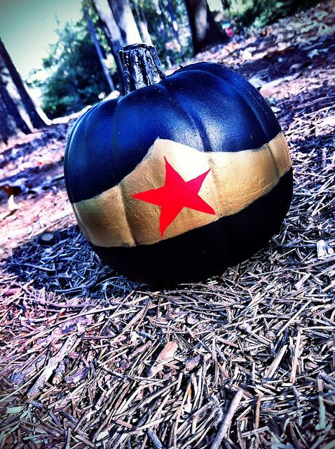 Wonder Woman painted pumpkin for fans