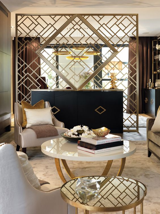 elegant geometric gilded screen creates an ambience in this room