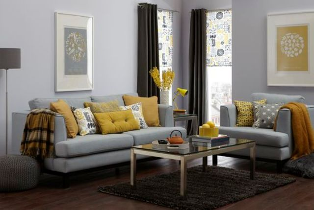 Nice Make An Accent In A Grey Room Using Yellow Cushions, Lamps And Flowers