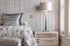 23 upholstered headboard wall with vertical panels for a textural look