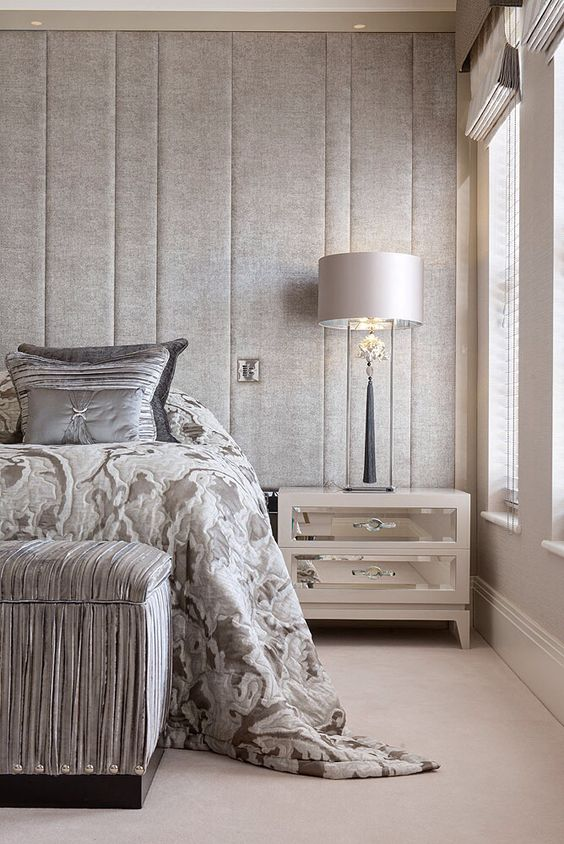 upholstered headboard wall with vertical panels for a textural look