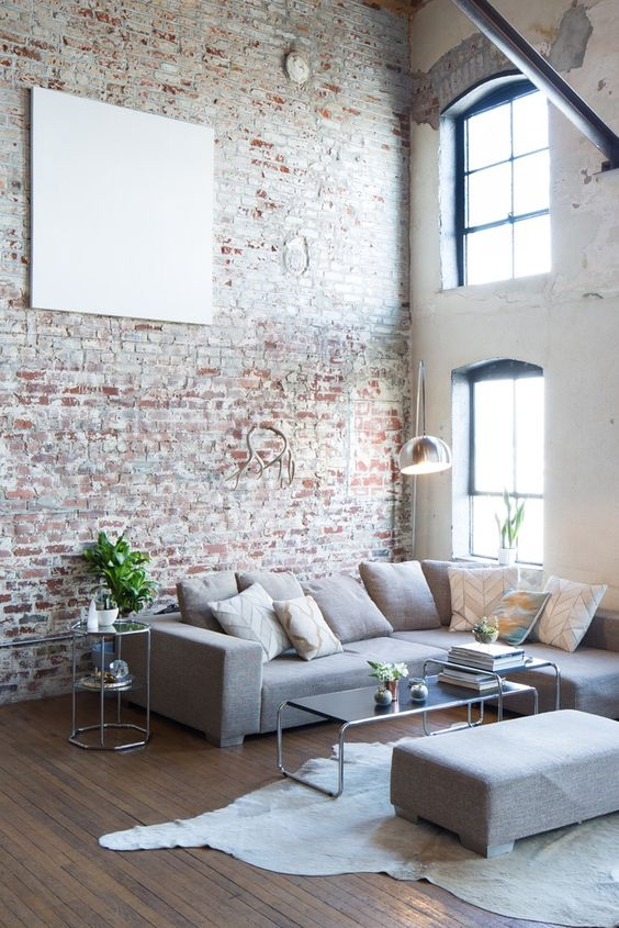 vintage brick clad was reserved to give the room a cool textural look