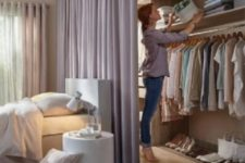 24 a dusty pink space divider not only adds to the girlish bedroom decor but also separates the bedroom and the closet