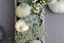 24 box centerpiece with white pumpkins, greenery and flowers