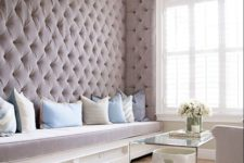 24 lavender-colored velvet diamond upholstery for a girlish and peaceful look