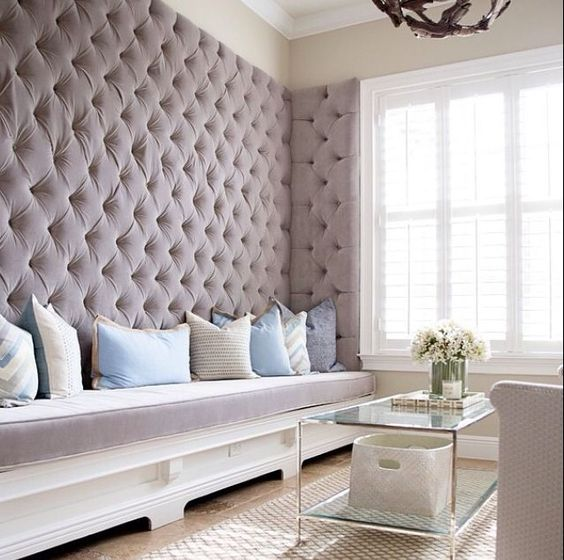 lavender-colored velvet diamond upholstery for a girlish and peaceful look