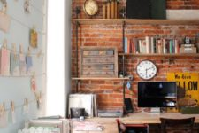24 simple exposed red brick blends perfectly with this industrial office
