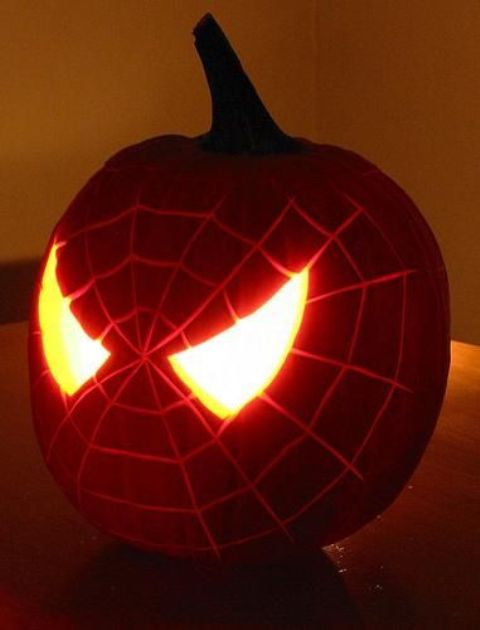 Spiderman pumpkin lantern