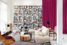 25 bold pink curtains that hide a whole library