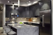 25 grey shaker cabinets look pulled off with a neutral-colored marble countertop