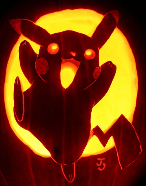 if you are a Pokemon Go fan, carve a Pikachu pumpkin