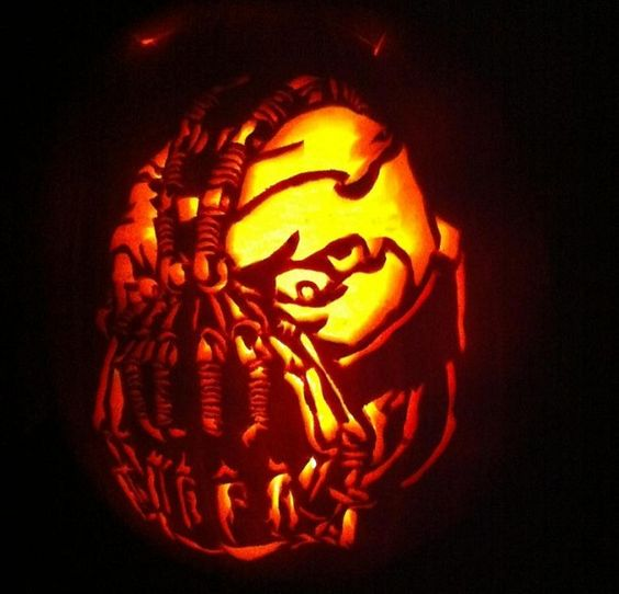 Bane pumpkin carving for Batman movies fans