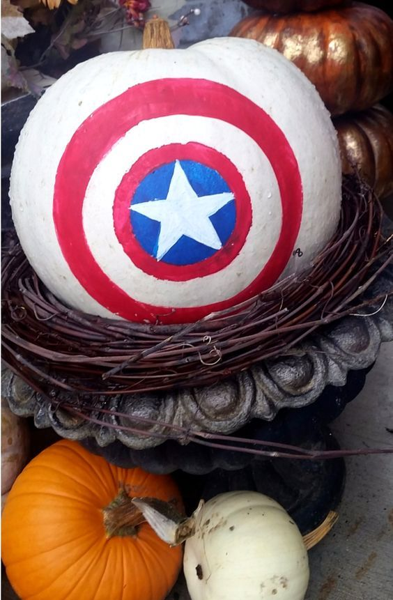 Captain America painted pumpkin is an easy craft