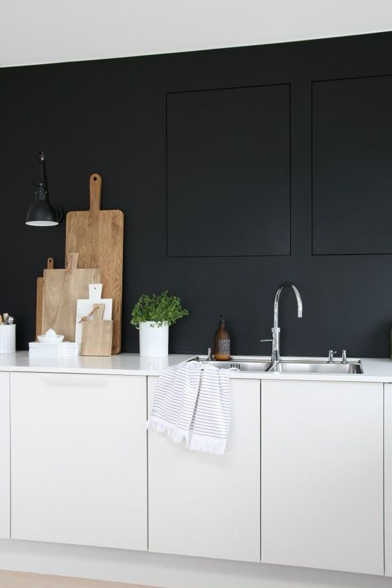 even the most minimalist monochrome kitchen with matte surfaces can be enlivened with herbs in pots