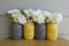 26 grey and yellow distressed mason jars as vases can be an easy DIY project
