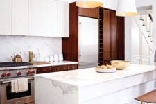 26 serene marble countertop spruces up a traditional wwooden kitchen