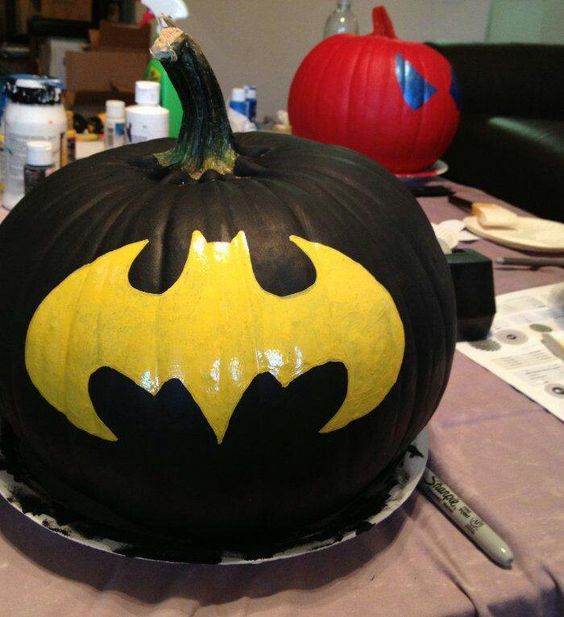 Batman painted pumpkin is an easy idea to recreate, you just need a template