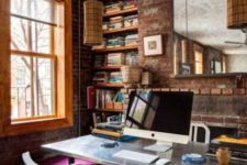 27 bold eclectic home office with brick walls for a unique look