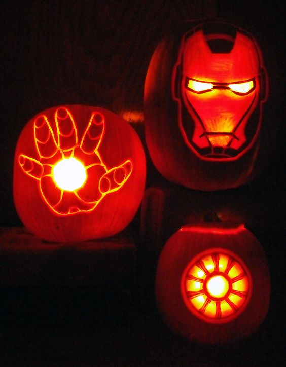 carved Iron Man lantern set