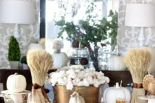 27 copper, gold and white tablescape with cotton, wheat and faux pumpkins