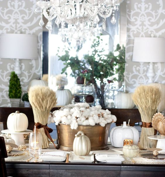 copper, gold and white tablescape with cotton, wheat and faux pumpkins