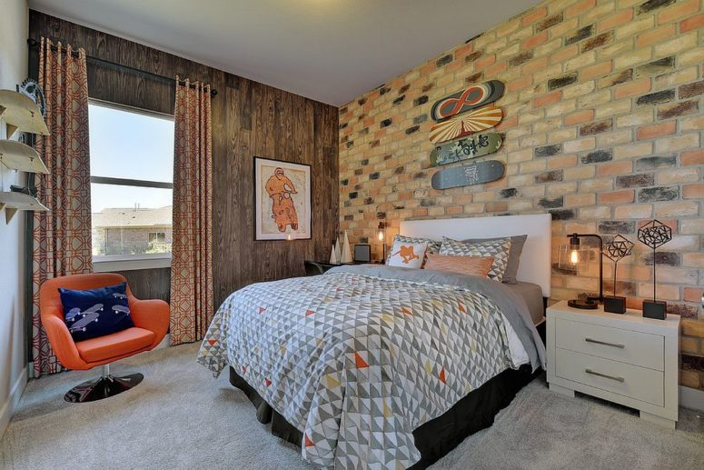 eye-catchy headboard brick wall makes this mid-century modern room cooler
