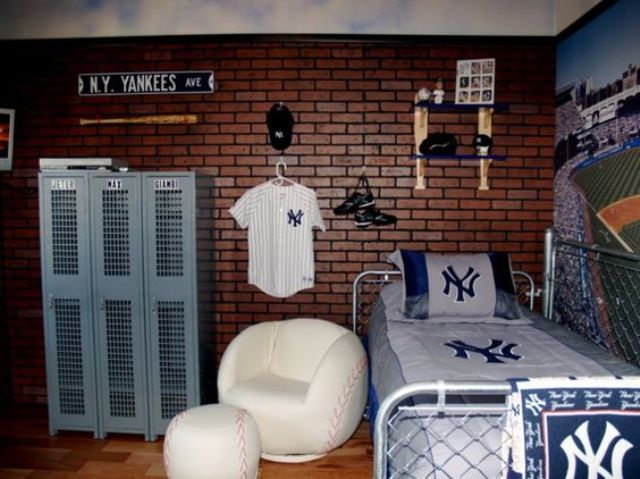 baseball decorations for bedroom 32 edgy brick walls ideas for rooms digsdigs 14095