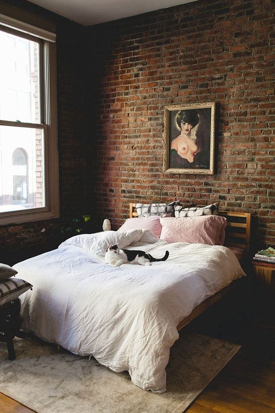 amusing brick accent wall bedroom | 43 Trendy Brick Accent Wall Ideas For Every Room - DigsDigs