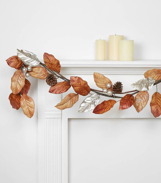 faux leaves and pinecones garland