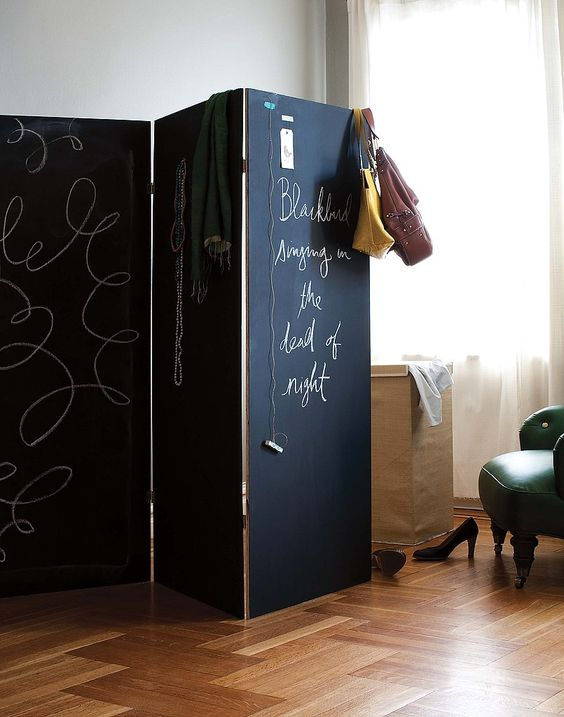 foldable chalkboard screen is great for separating spaces and you can chalk on it whatever you like