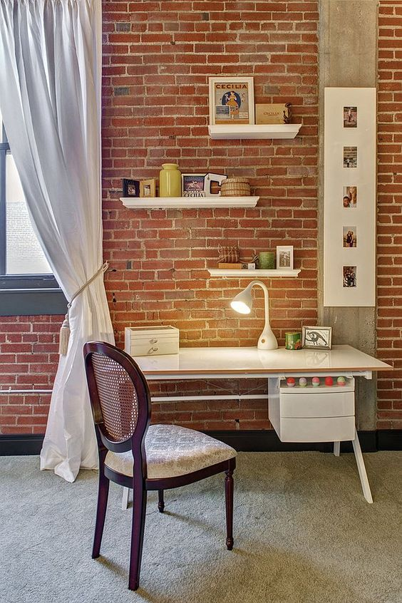 red brick is number one in adding texture to any space, especially if it's as simple as this one
