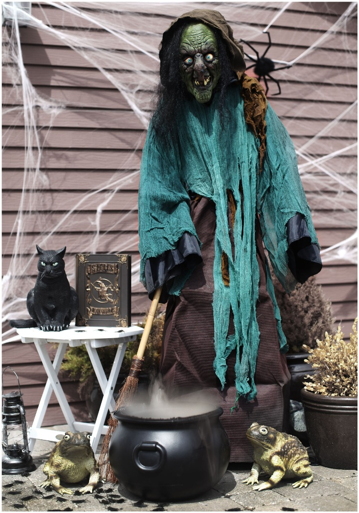 scary faux witch with a black cat is a fantastic indoor and outdoor decoration to pop