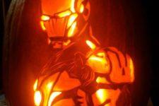 29 Iron Man from Avengers pumpkin lantern