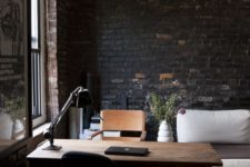 29 dark brick for a textural look in a traditional home office