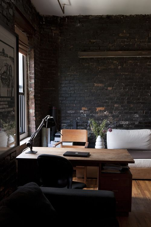 dark brick for a textural look in a traditional home office