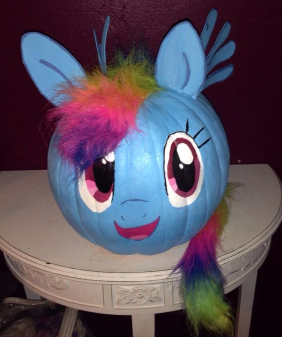 My Little Pony inspired pumpkin with a tail and ears