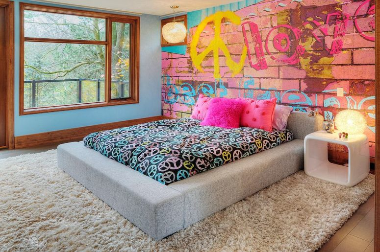 Brick Wall Mural With A Graffiti Is Great For A Teen Girlu0027s Room