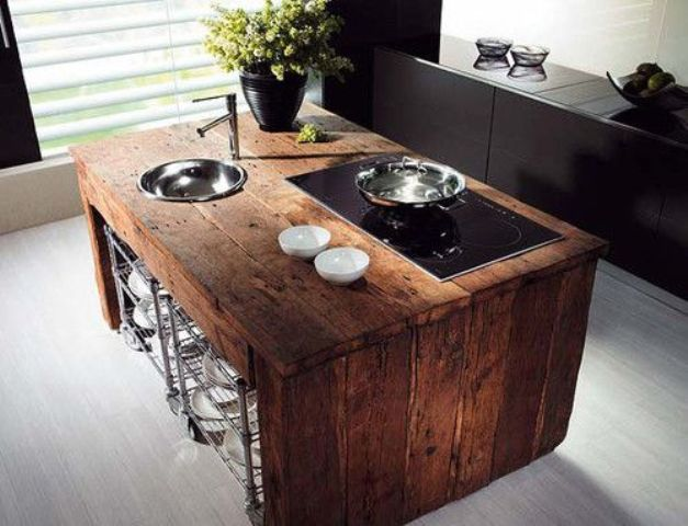 butcherblock waterfall countertop to give a raw touch to a modern sleek kitchen