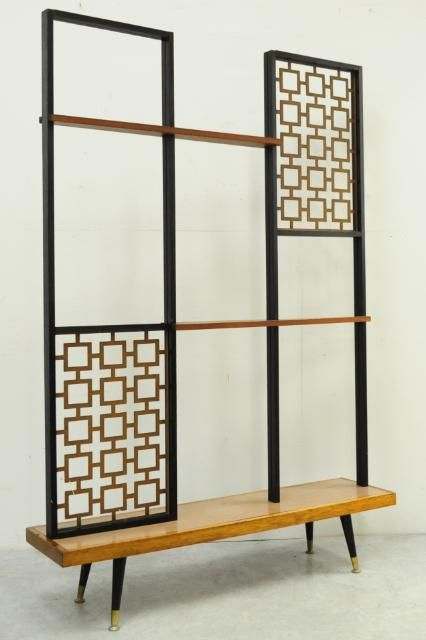 room divider with a bench and shelves is a very functional piece