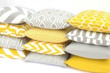 30 yellow and grey mix and match pillows are  a cheap way to rock these colors