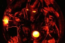 31 Iron Man pumpkin carving and lantern
