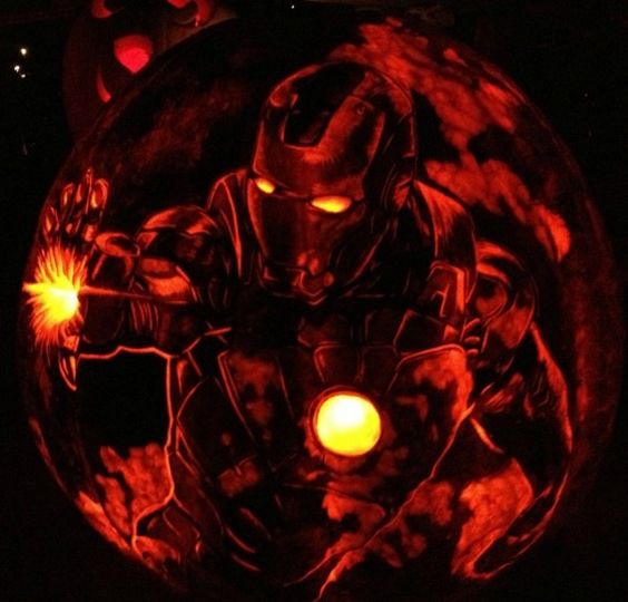 Iron Man pumpkin carving and lantern