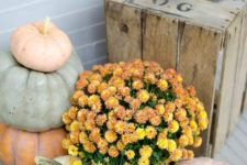 31 chalk painted pumpkins and orange flowers for a fall porch