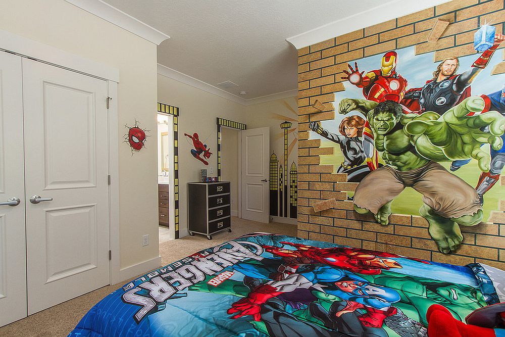 faux brick wall with Avengers for little comics fans