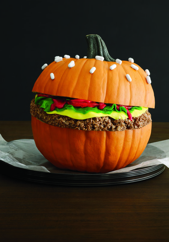 faux burger pumpkin decoration is a very cool idea