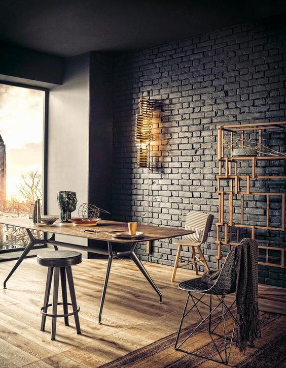 industrial space with dark brick looks very trendy and eye-catchy