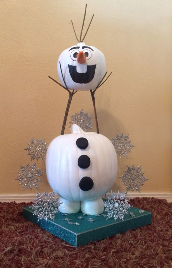 painted Olaf pumpkin to excite your kids