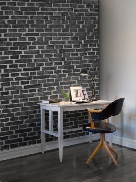 Black Wall Paneling : Home office designs with exposed brick walls digsdigs